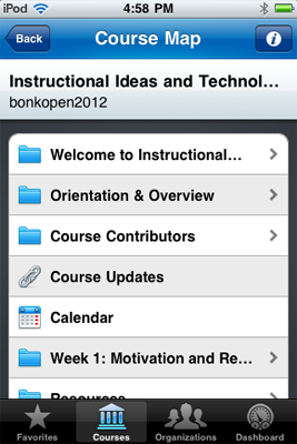 Using CourseSites on the iPod Touch