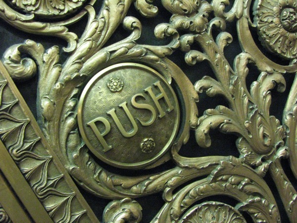 "Ornate ""Push"" Elevator Button"