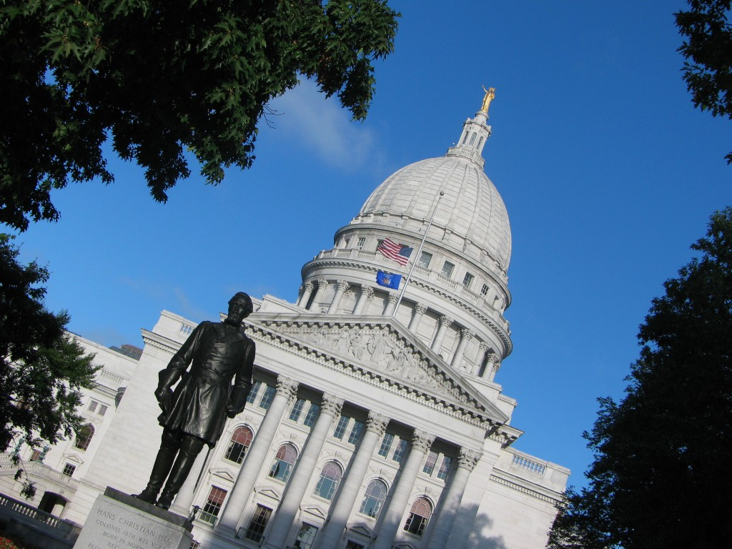 The Capitol in Madison, and a statue of Hans Cristian Heg