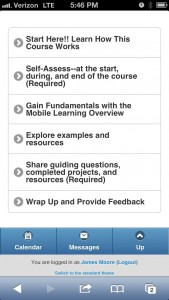 Moodle Course on iPhone