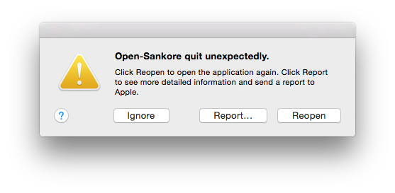 Open-Sankoré Error Message